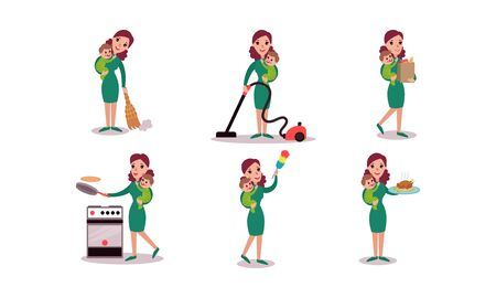 Super Mom Routine Housework Activities With Child. Cleaning, Cooking, Baking, Shopping Vector Illustration Set Isolated On White Background Ilustrace