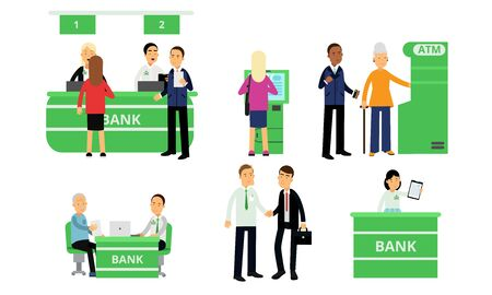 Different people in a green financial bank. Vector illustration. Ilustração