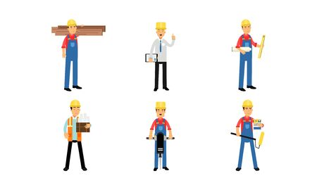 The builder is going to paint the walls with a roller, carrying boards, taking measurements. The designer talking about the construction plan and preparing the paper Vector Illustration
