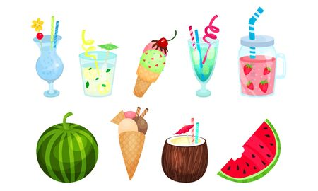 Set of fruits, berries and cocktails from them. Vector illustration. Иллюстрация