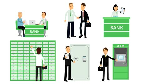 Men and women in a green financial bank. Vector illustration.