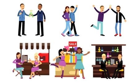 Boys And Girls Meeting In Different Places And Spending Time Together Vector Illustration Set Isolated On White Background Иллюстрация