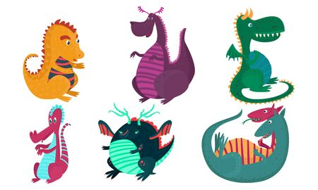 Set of cute cartoon violet, green, orange and blue dragons with horns, wings, two-headed and thick. Vector illustration. Banque d'images - 131539912