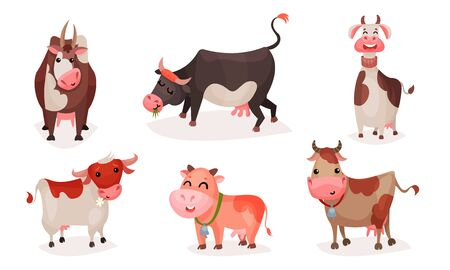 Set of cute cartoon cows with collars and bells. Vector illustration.