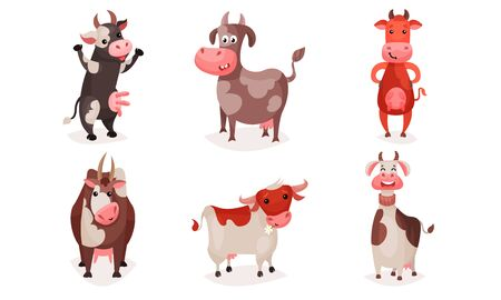 Set of cute spotted cartoon cows with collars. Vector illustration.