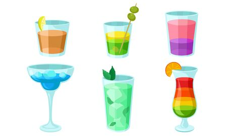Set of multi-colored cocktails in glasses with ice. Vector illustration.