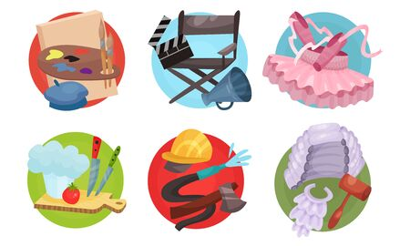 Set of round icons with symbols of professions. Vector illustration.