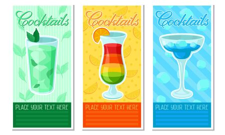 Green, orange and blue cards with the image of cocktails and the inscription Please your text here. Vector illustration.