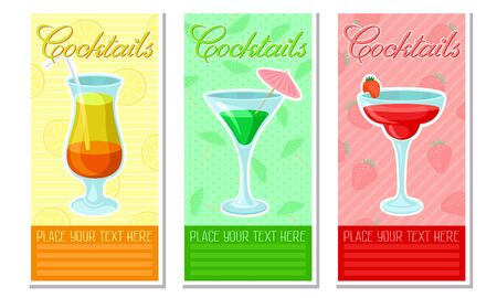Set of cards with three cocktail in glasses and the inscription. Vector illustration. Çizim