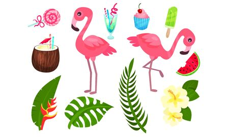 Set of exotic plants and birds. Vector illustration.