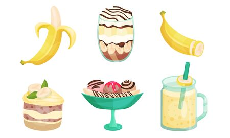 Set of banana, layered meringue, cake, ice cream and cocktail. Vector illustration.
