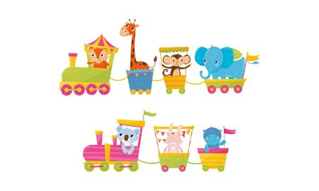 Funny Cartoon Animal Ride In Train Vector Illustration. Zoo Animals Having Ride In Toy Train