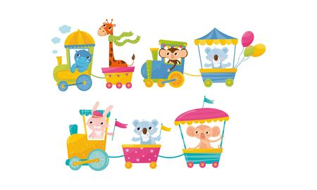 Funny Cartoon Group Of Zoo Animals Riding In Train Vector Illustration. Zoo Animals Having Ride In Toy Train