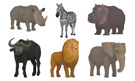 African Area Habitants Drawn In Realistic Manner Vector Illustrations