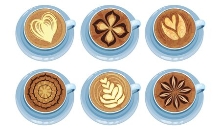 Latte Art. Top View Coffee Foam Drawing Vector Illustration Collection. Different Types Of Coffee With Art Drawn Elements On The Top  イラスト・ベクター素材