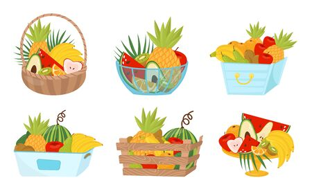Fruit Basket Wealth Vector Illustrated Set On White Background Ilustrace
