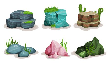 Rock Stones Vector Illustrated Set. Different Shrubs On White Background. Isolated Game Elements