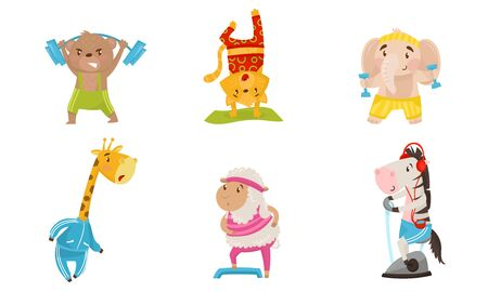 Funny Animals Doing Sport. Fitness And Healthy Lifestyle Vector Illustration Set. Cute Cartoon Characters Collection Isolated On White Background.