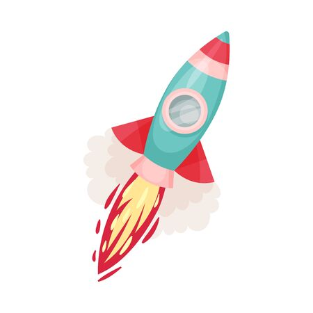 Cyan rocket with porthole and fire trace launched into space. Concept of business project start up, or innovations. Vector illustrations, cartoon character, isolated on white background. Ilustração