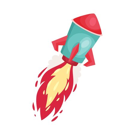 Red rocket with fire trace launched into space. Concept of business project start up, or innovations. Vector illustrations, cartoon character, isolated on white background. Banco de Imagens - 131751348