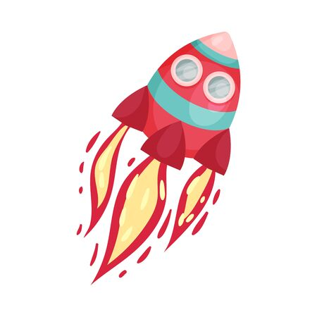Red Rocket With Two Portholes And Fire Trace Launched Into Space Vector Illustration Set Cartoon Character