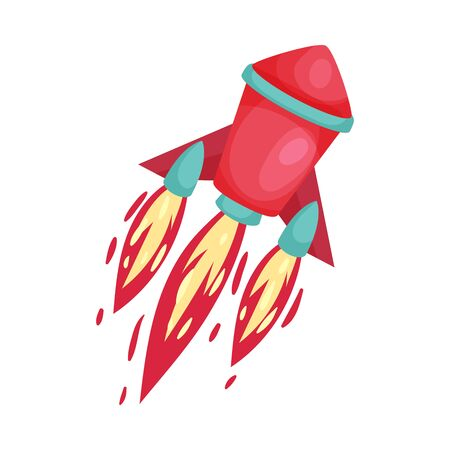 Red rocket with fire trace launched into space. Concept of business project start up, or innovations. Vector illustrations, cartoon character, isolated on white background. Иллюстрация