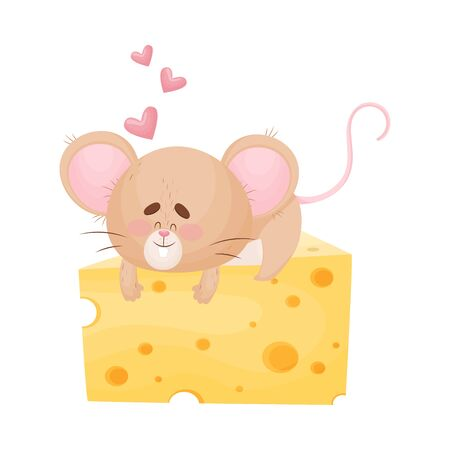 Cute humanized mouse lies and hugs a huge piece of cheese. Hearts fly around. Vector illustration.