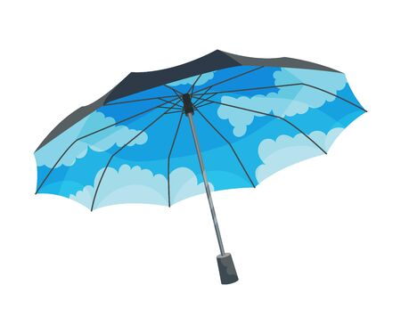 Opened blue umbrella with clouds in the sky drawn inside. Weather concept. Vector illustration, isolated on white background. Banco de Imagens - 131749333