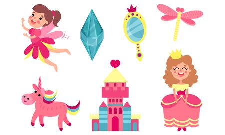 Set of pink magic items. Fairy, princess, castle, unicorn, mirror crystal Vector illustration