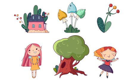 Set of fairytale heroes. Elf, fairy, mushroom, berry house tree Vector illustration Banco de Imagens - 131798056