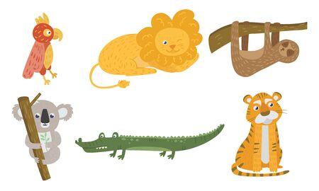 Set of exotic cartoon animals and birds. Parrot, lion, crocodile, koala, sloth, tiger Vector illustration