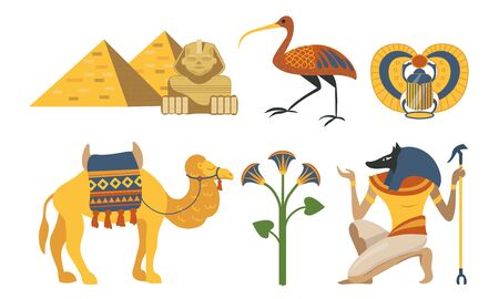 Collection of various symbols of Egypt. Pyramid, sphinx, pharaoh, scarab, ibis Vector illustration
