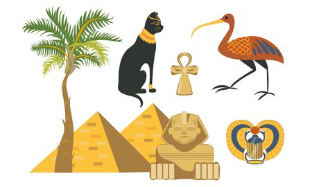 Set of egypt symbols. Pyramid, sphinx, ibis, cat, scarab beetle palm Vector illustration