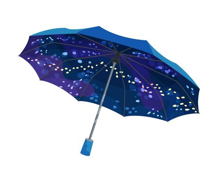 Beautiful opened umbrella of bright navy blue color and interesting design. Night sky with stars or bubbles inside. Vector illustration, isolated on white background. Ilustração