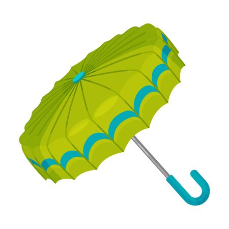 Opened fresh green umbrella with unusual flat design. Blue decor on the sides. Modern and fashionable. Vector illustration, isolated on white background.