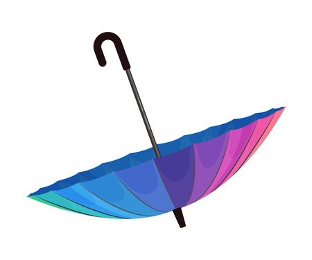 Opened and turned down bright umbrella. Colors with gradient from magenta to cyan, beautiful design. Vector illustration, isolated on white background. Banco de Imagens - 131806978