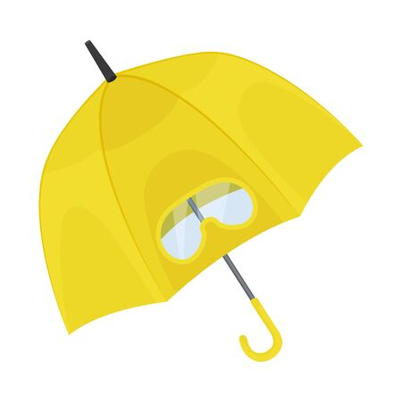 Big opened bright yellow umbrella with unusual design. Totally covered the head with transparent glasses inside. Original style. Vector illustration, isolated on white background. Banco de Imagens - 131810177