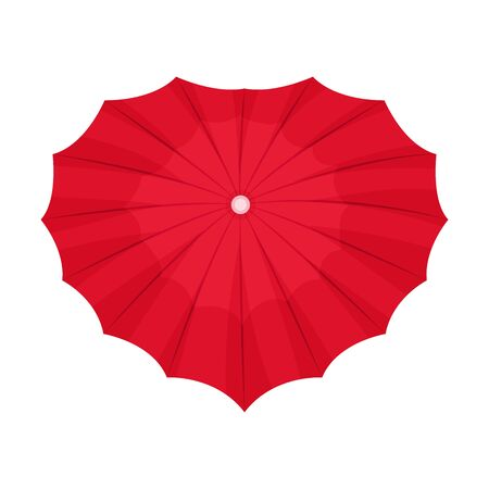 Opened bright red umbrella with heart shape. Top view, feminine design. Vector illustration, isolated on white background.