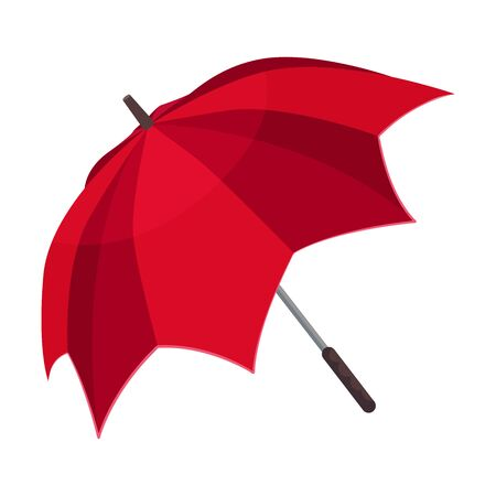 Unusual opened bright red umbrella with interesting design. In the shape of spiky petals. Vector illustration, isolated on white background. Banco de Imagens - 131809978