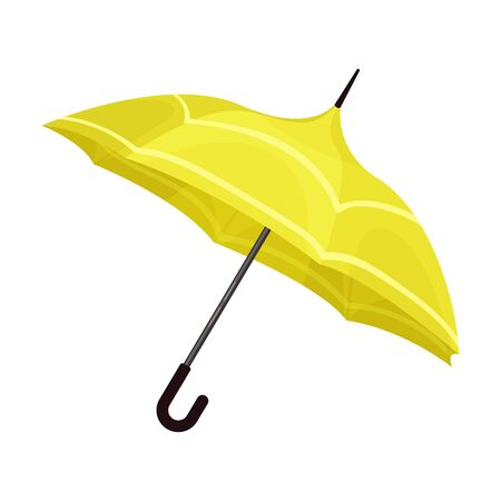 Opened bright yellow umbrella with sofisticatedly curved design. Feminine, trendy accessory. Vector illustration, isolated on white background. Ilustração