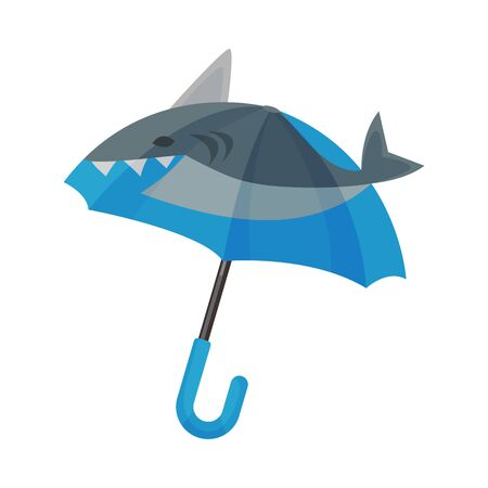 Amazing opened umbrella with unusual shark design, big elements of flippers shape at the top. Blue and grey color, trendy accessory. Vector illustration, isolated on white background.