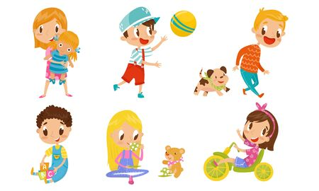 Children playing and having fun with toys. Doll, puppy, ball, Teddy bear, cubes, bike. Happy childhood concept. Vector illustrations, cartoon character, isolated white background Ilustração