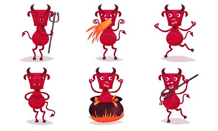 Red cartoon angry horned devil. Vector illustration. Stock Illustratie