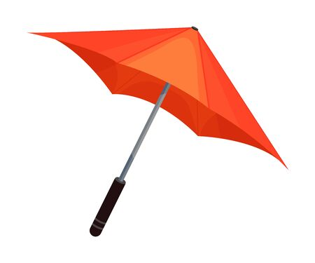 Opened bright orange umbrella in japanese style. Feminine design, weather concept. Vector illustration, isolated on white background. Banco de Imagens - 131814139