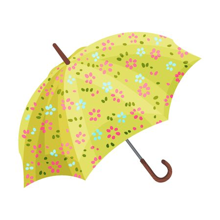 Opened bright umbrella with spring flowers. Red and blue with green leaves on yellow background. Vector illustration, isolated on white background. Banco de Imagens - 131814444