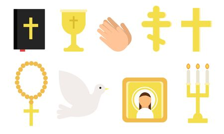 Set of different symbols of the Christian religion. Vector illustration.