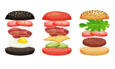 Burger And Sandwich Ingredients Isolated Vector Illustrated Collection. Junk Food Detailed Drawn Set