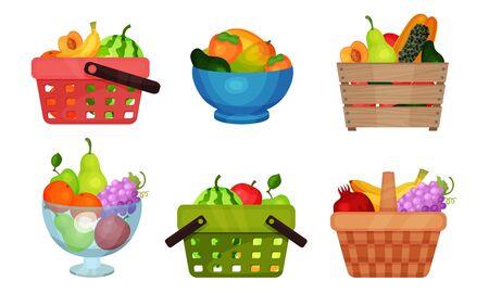 Fruit Basket Wealth Vector Illustrated Set On White Background.