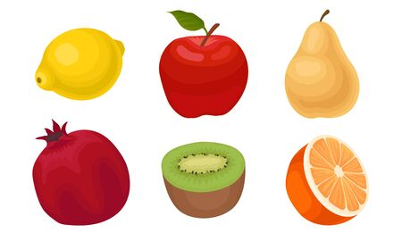 Tropical Fruit Vector Set Isolated On White Background. Collection Of Half Cut Colorful Fruit Icons Illustration