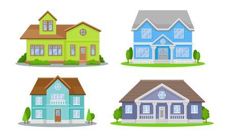 Conjunto de mansiones. Edificios coloridos contemporáneos conceptos ilustrados vectoriales. Colección de propiedades vivas aisladas sobre fondo blanco.
